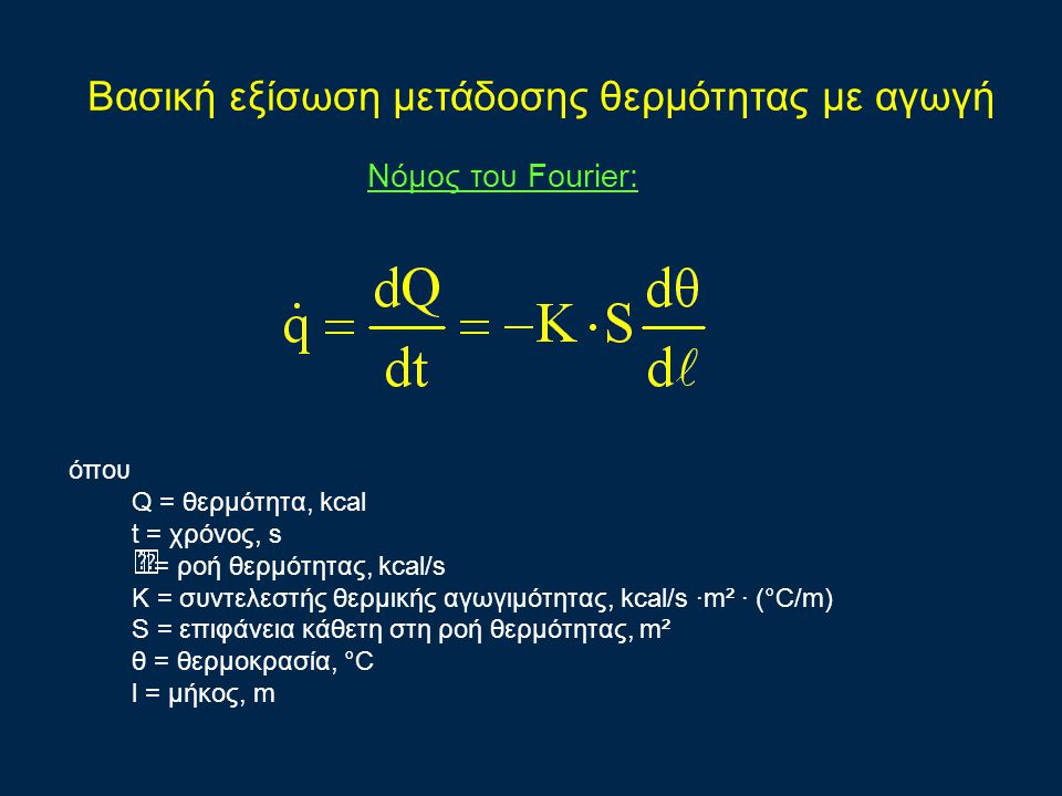 Bασική εξίσωση μετάδοσης θερμότητας με αγωγή