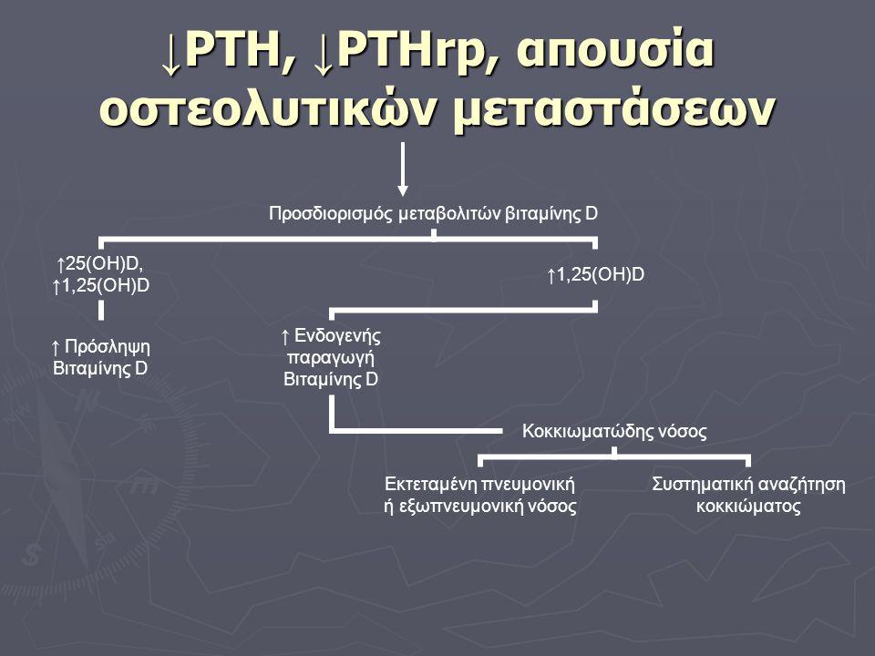 ↓PTH, ↓PTHrp, απουσία οστεολυτικών μεταστάσεων
