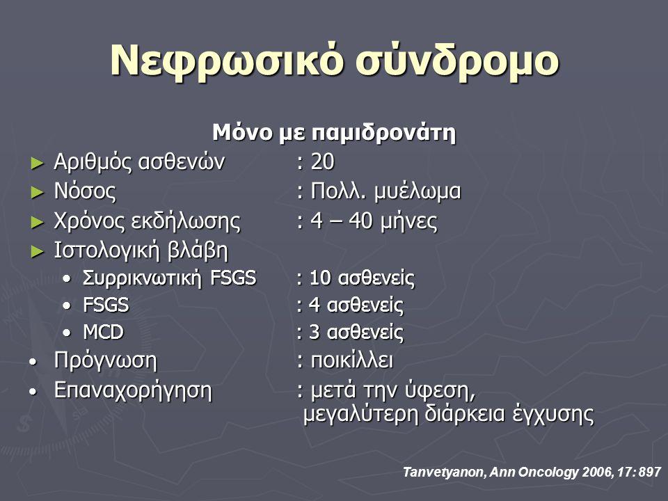 Νεφρωσικό σύνδρομο Μόνο με παμιδρονάτη Αριθμός ασθενών : 20