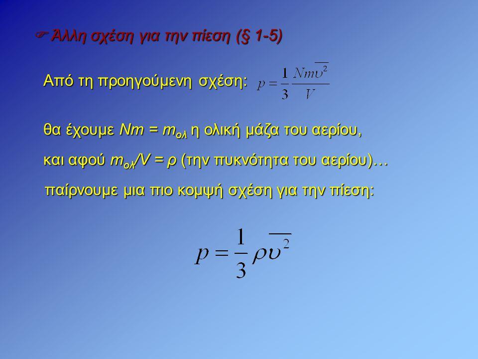  Άλλη σχέση για την πίεση (§ 1-5)
