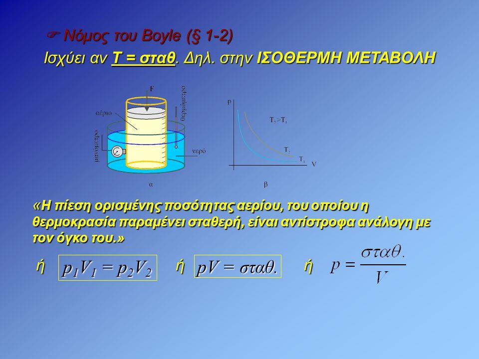 p1V1 = p2V2 pV = σταθ.  Νόμος του Boyle (§ 1-2)