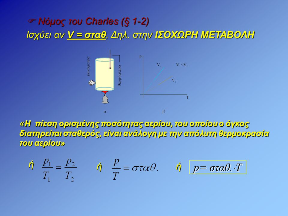 p= σταθ.Τ  Νόμος του Charles (§ 1-2)