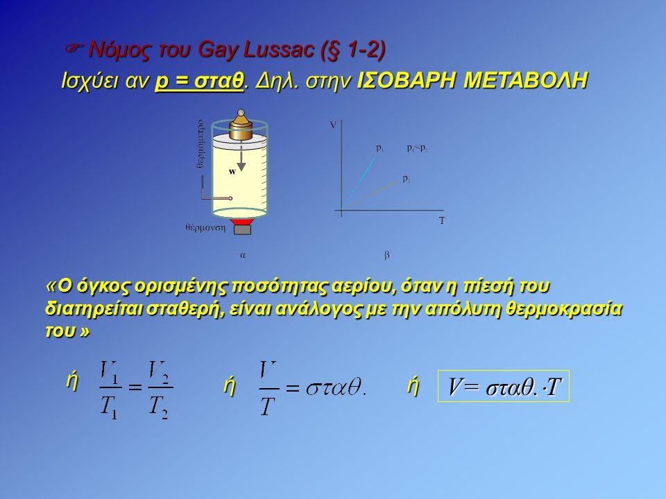 V= σταθ.Τ  Νόμος του Gay Lussac (§ 1-2)