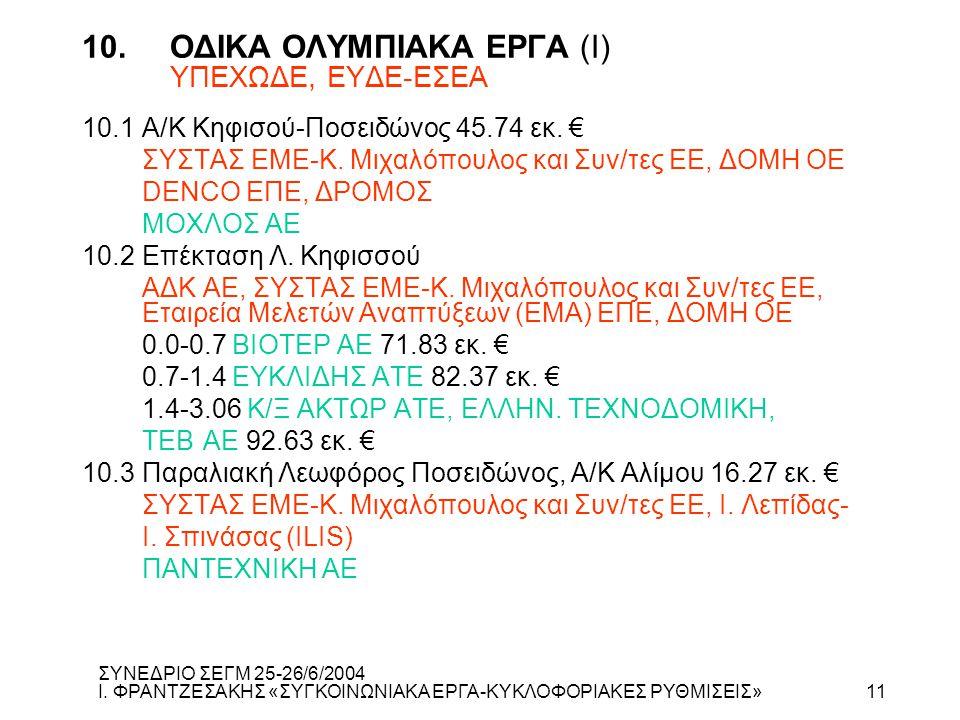 10. ΟΔΙΚΑ ΟΛΥΜΠΙΑΚΑ ΕΡΓΑ (Ι) ΥΠΕΧΩΔΕ, ΕΥΔΕ-ΕΣΕΑ