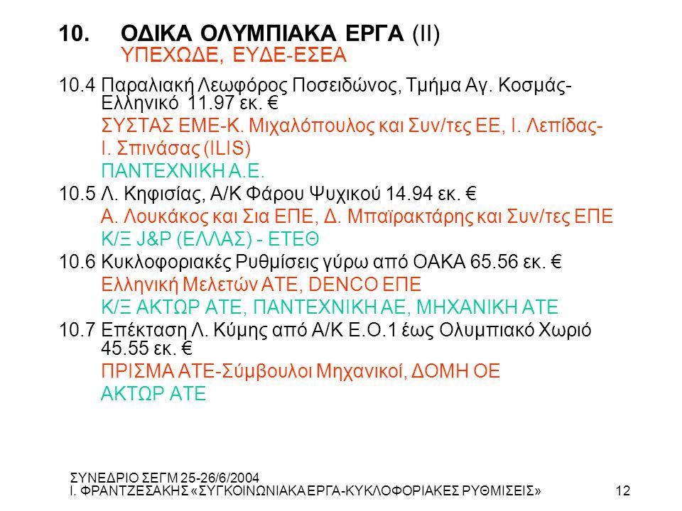 10. ΟΔΙΚΑ ΟΛΥΜΠΙΑΚΑ ΕΡΓΑ (ΙΙ) ΥΠΕΧΩΔΕ, ΕΥΔΕ-ΕΣΕΑ