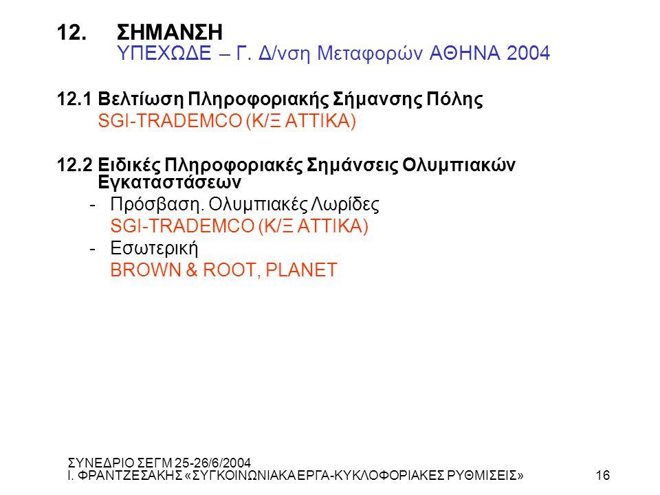 12. ΣΗΜΑΝΣΗ ΥΠΕΧΩΔΕ – Γ. Δ/νση Μεταφορών ΑΘΗΝΑ 2004