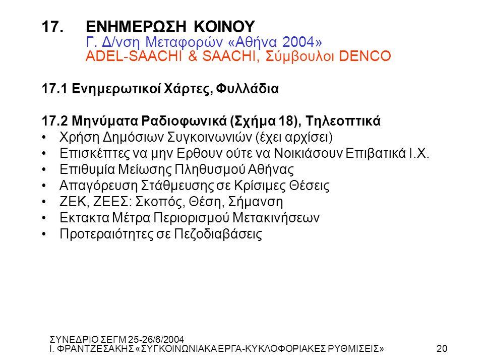 17. ΕΝΗΜΕΡΩΣΗ ΚΟΙΝΟΥ Γ. Δ/νση Μεταφορών «Αθήνα 2004» ADEL-SAACHI & SAACHI, Σύμβουλοι DENCO