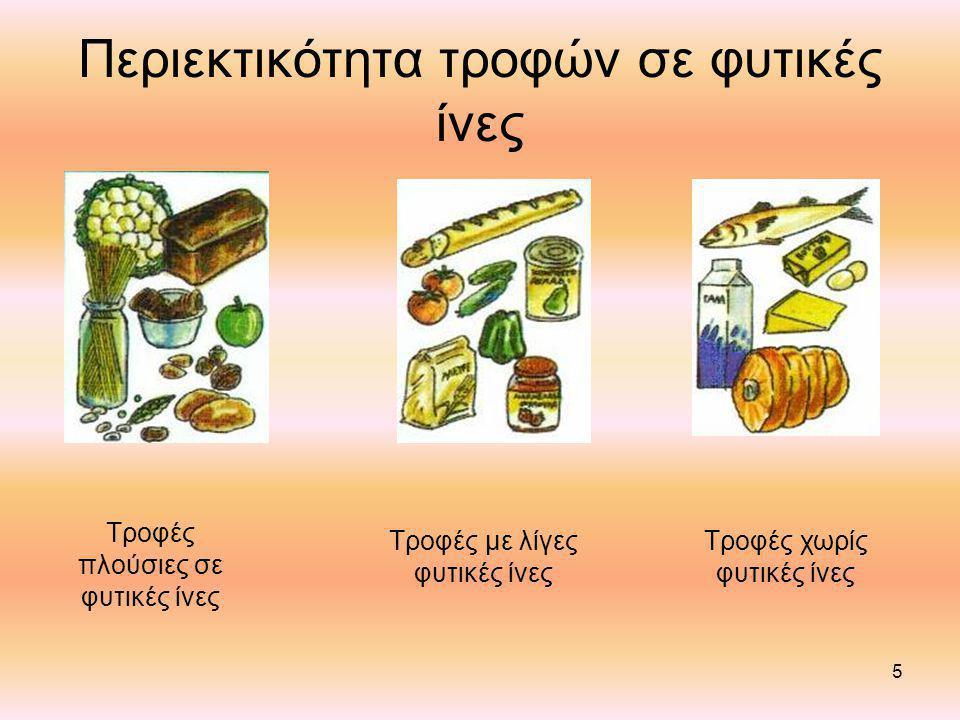 Περιεκτικότητα τροφών σε φυτικές ίνες