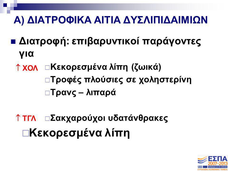 A) ΔΙΑΤΡΟΦΙΚΑ ΑΙΤΙΑ ΔΥΣΛΙΠΙΔΑΙΜΙΩΝ