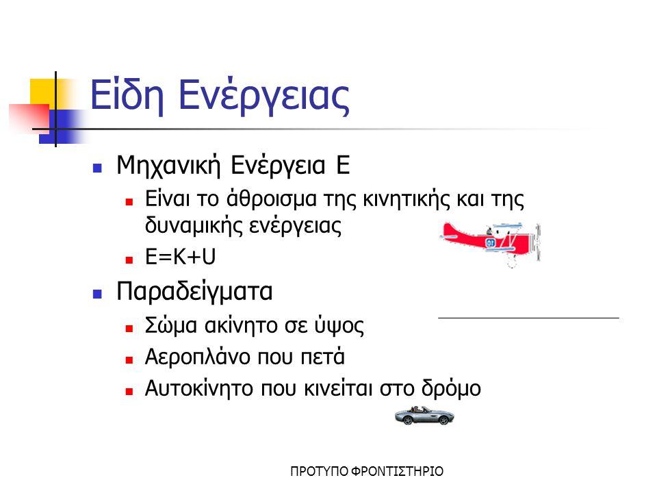 Είδη Ενέργειας Μηχανική Ενέργεια Ε Παραδείγματα