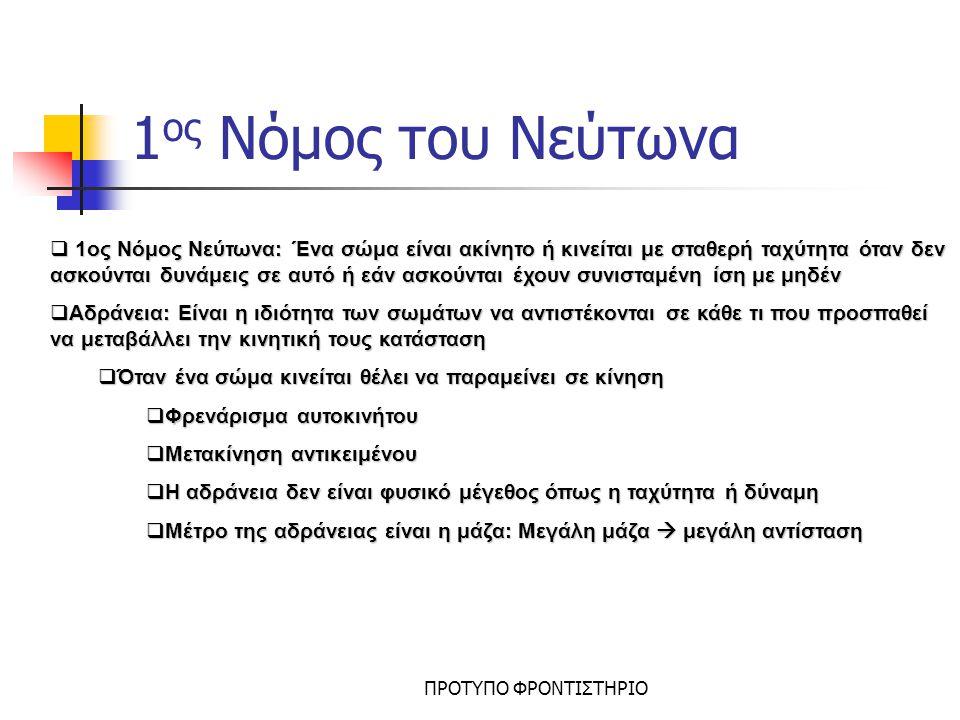 1ος Νόμος του Νεύτωνα