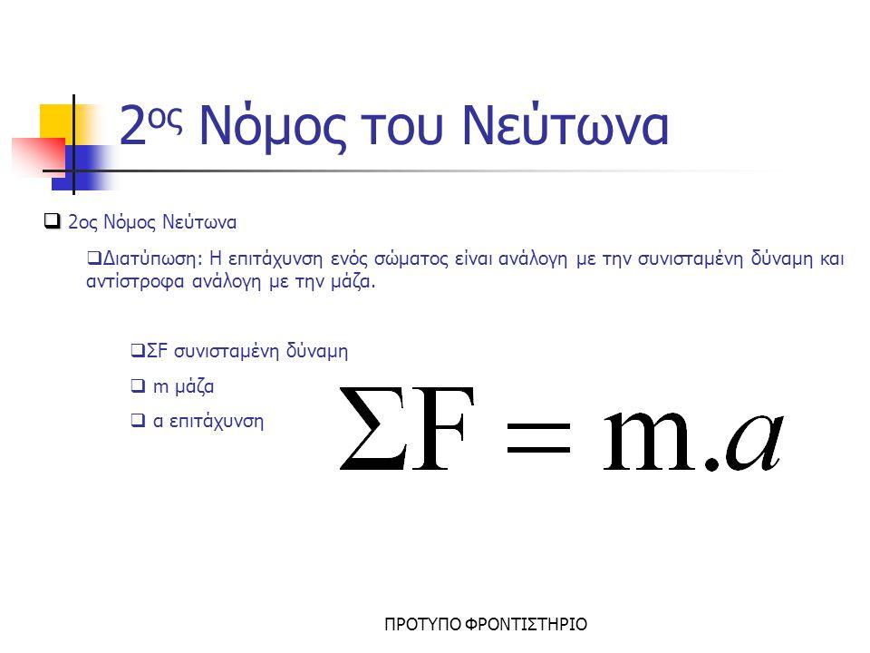 2ος Νόμος του Νεύτωνα 2ος Νόμος Νεύτωνα