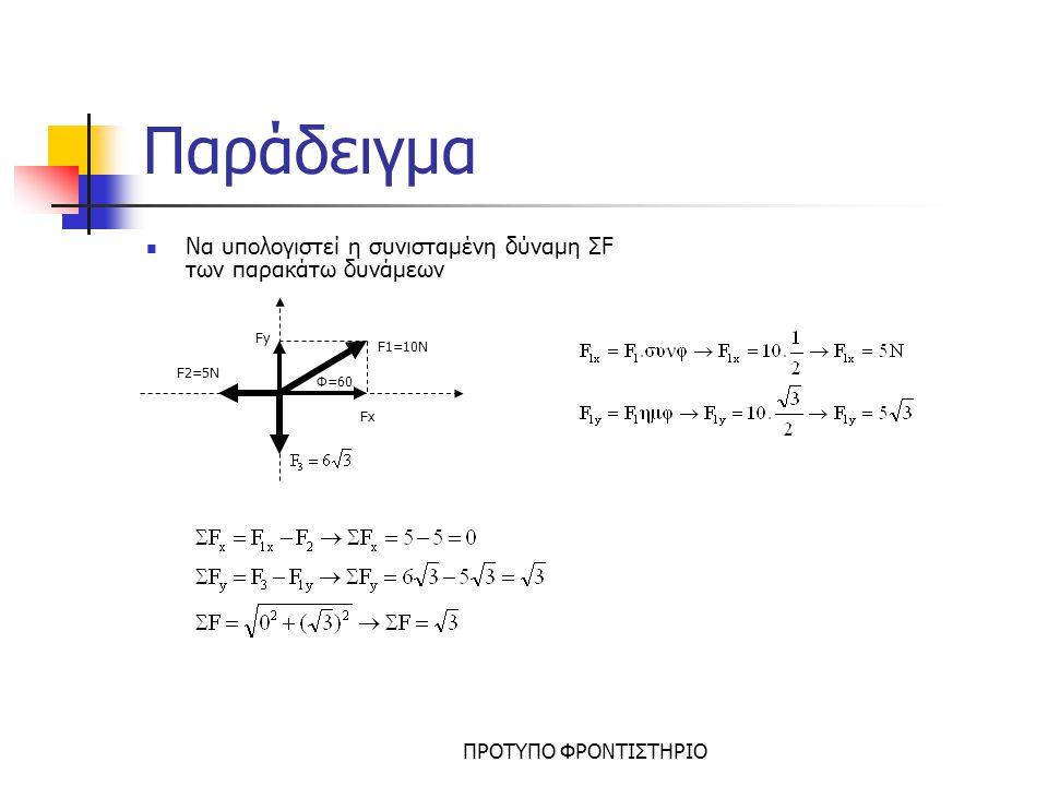 Παράδειγμα Να υπολογιστεί η συνισταμένη δύναμη ΣF των παρακάτω δυνάμεων. Fy. F1=10N. F2=5N. Φ=60.
