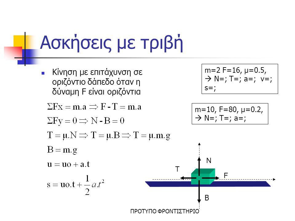 Ασκήσεις με τριβή Κίνηση με επιτάχυνση σε οριζόντιο δάπεδο όταν η δύναμη F είναι οριζόντια. m=2 F=16, μ=0.5,  N=; T=; a=; v=; s=;