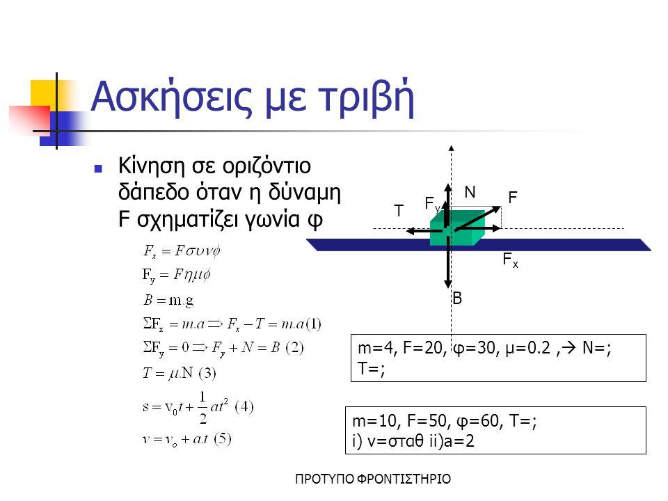 Ασκήσεις με τριβή Κίνηση σε οριζόντιο δάπεδο όταν η δύναμη F σχηματίζει γωνία φ. F. N. T. Fx. Fy.