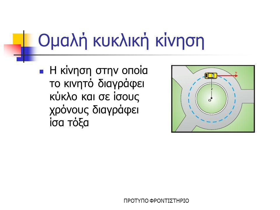 Ομαλή κυκλική κίνηση Η κίνηση στην οποία το κινητό διαγράφει κύκλο και σε ίσους χρόνους διαγράφει ίσα τόξα.