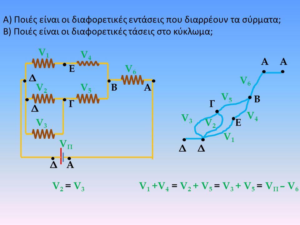 Α) Ποιές είναι οι διαφορετικές εντάσεις που διαρρέουν τα σύρματα;