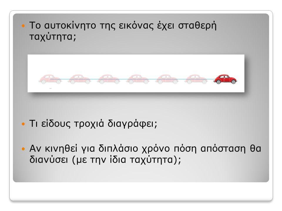 Το αυτοκίνητο της εικόνας έχει σταθερή ταχύτητα;
