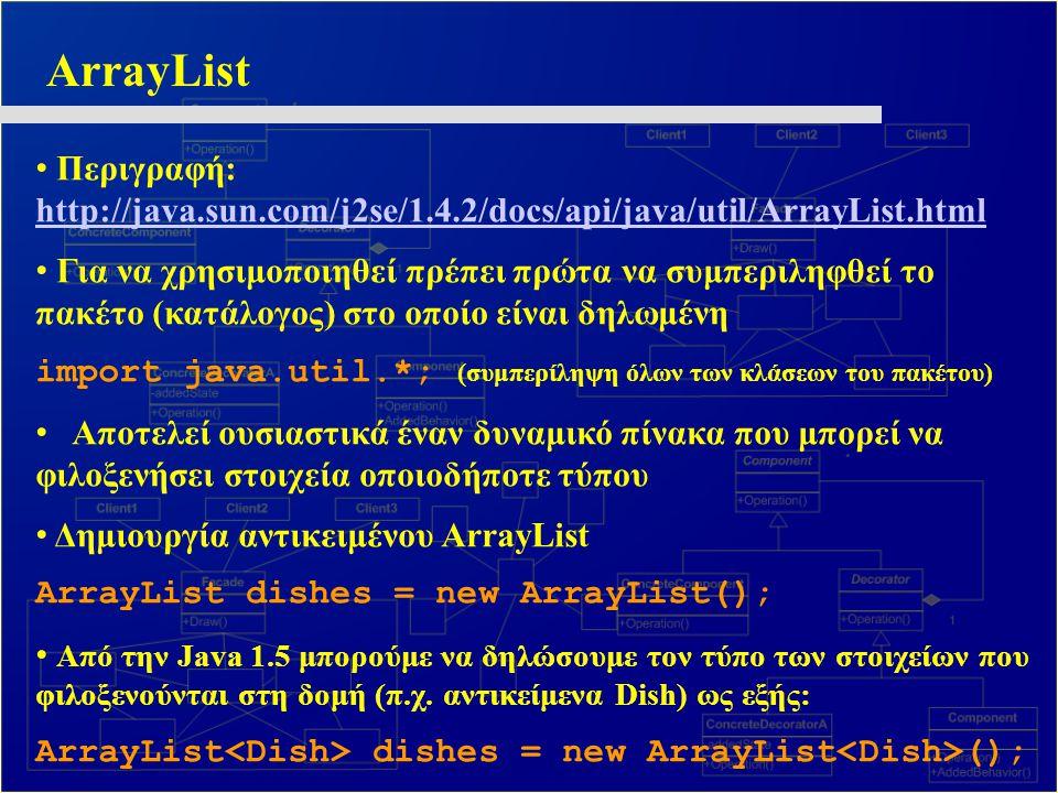 ArrayList Περιγραφή: http://java.sun.com/j2se/1.4.2/docs/api/java/util/ArrayList.html.