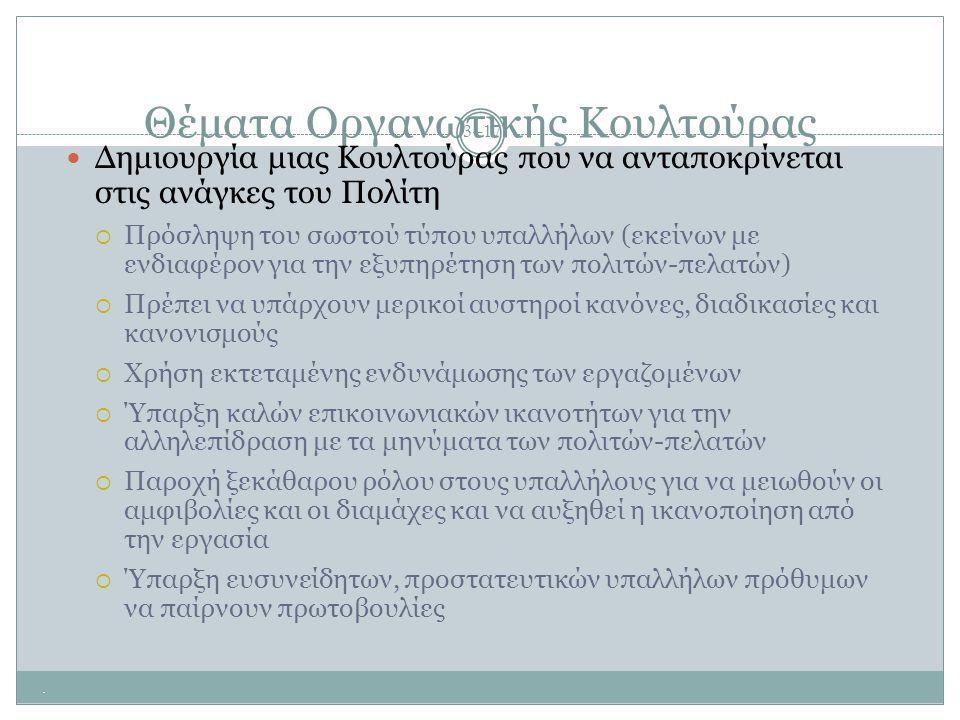 Θέματα Οργανωτικής Κουλτούρας