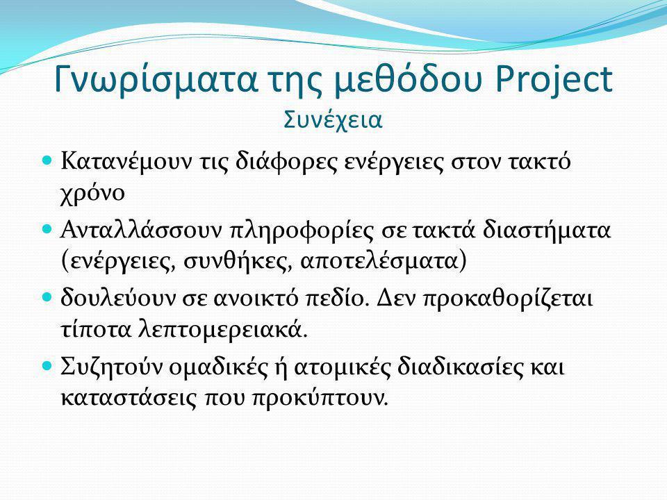 Γνωρίσματα της μεθόδου Project Συνέχεια