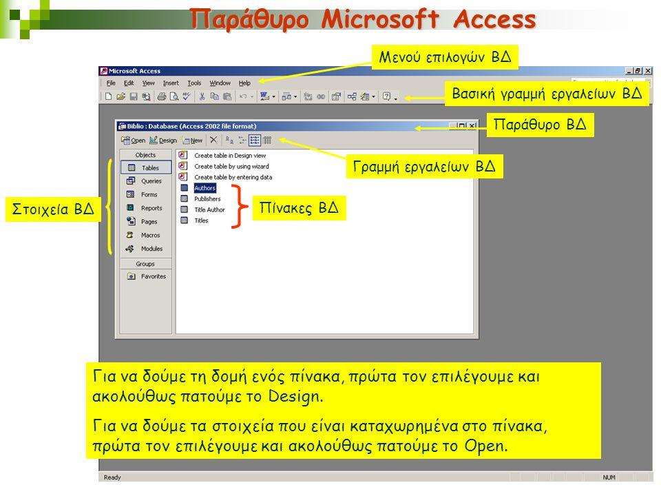 Παράθυρο Microsoft Access