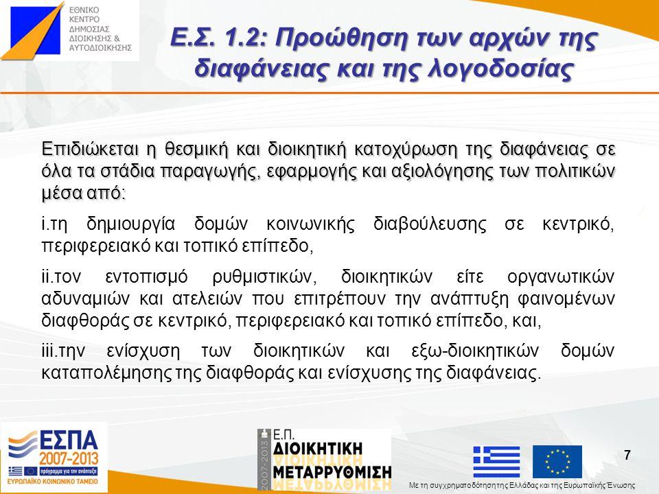 Ε.Σ. 1.2: Προώθηση των αρχών της διαφάνειας και της λογοδοσίας