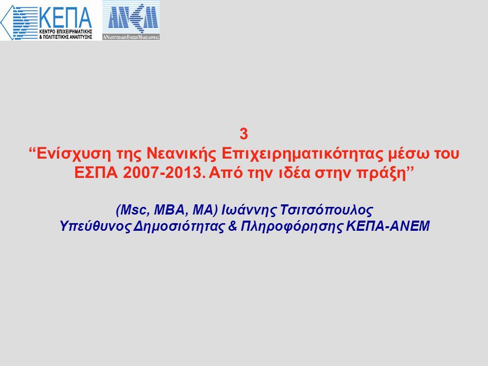 3 Eνίσχυση της Νεανικής Επιχειρηματικότητας μέσω του ΕΣΠΑ 2007-2013