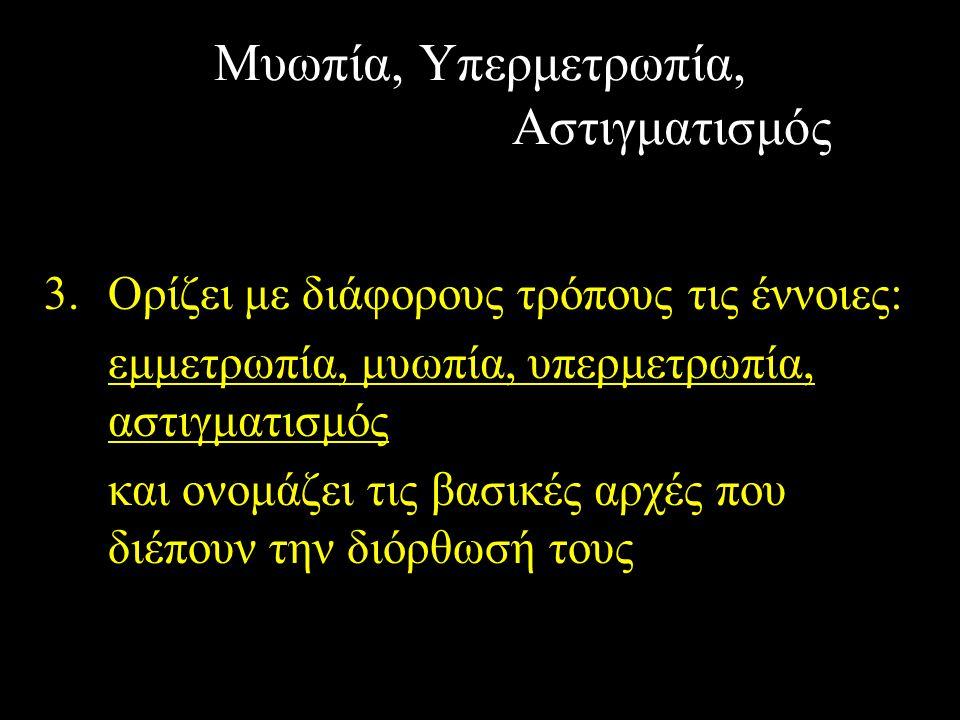 Μυωπία, Υπερμετρωπία, Αστιγματισμός