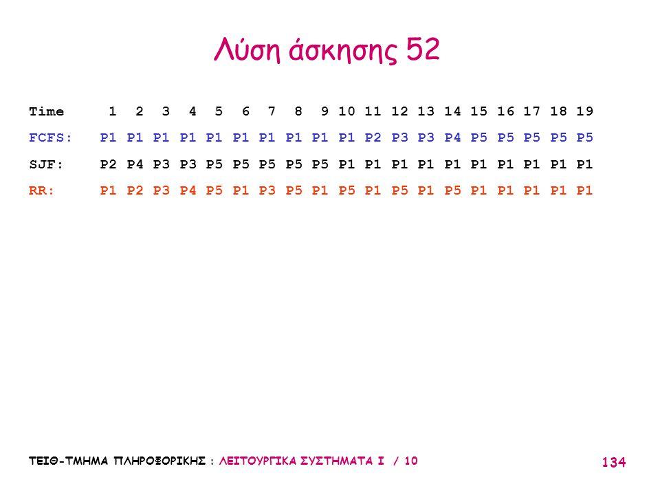 Λύση άσκησης 52 Time 1 2 3 4 5 6 7 8 9 10 11 12 13 14 15 16 17 18 19. FCFS: P1 P1 P1 P1 P1 P1 P1 P1 P1 P1 P2 P3 P3 P4 P5 P5 P5 P5 P5.