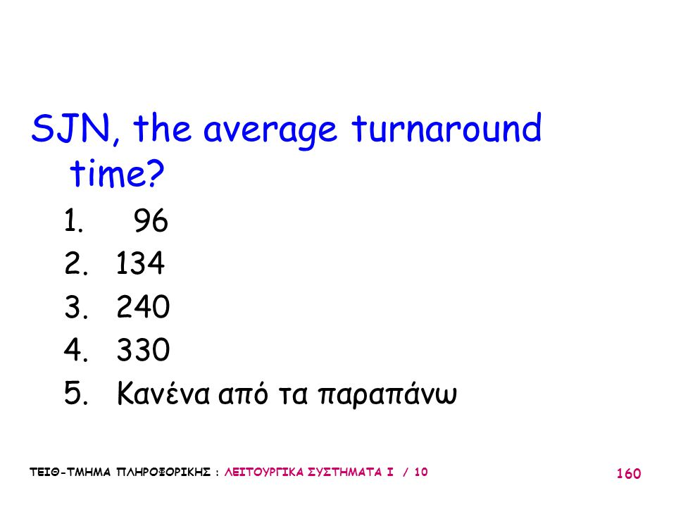 SJN, the average turnaround time