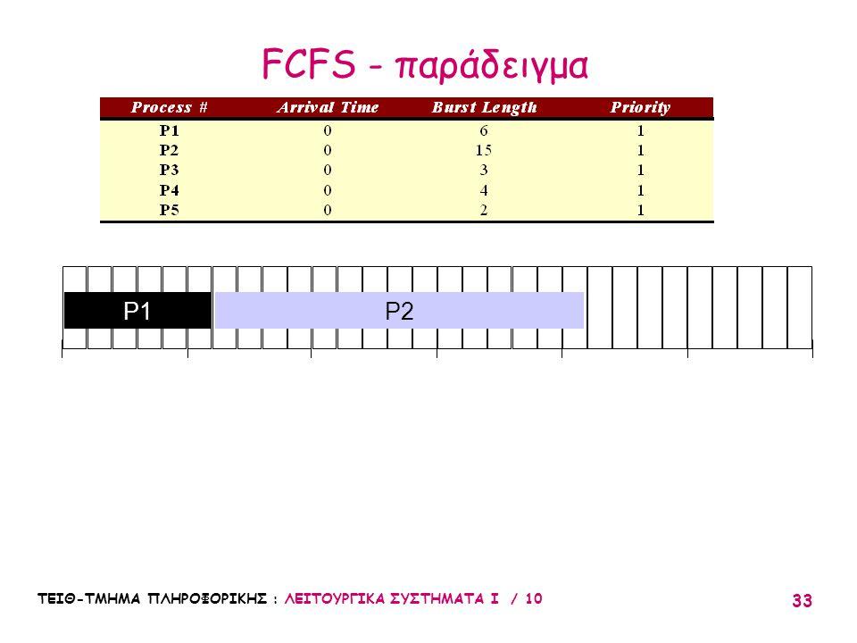 FCFS - παράδειγμα 10 20 30 5 15 25 P1 P2 ΤΕΙΘ-ΤΜΗΜΑ ΠΛΗΡΟΦΟΡΙΚΗΣ : ΛΕΙΤΟΥΡΓΙΚΑ ΣΥΣΤΗΜΑΤΑ Ι / 10