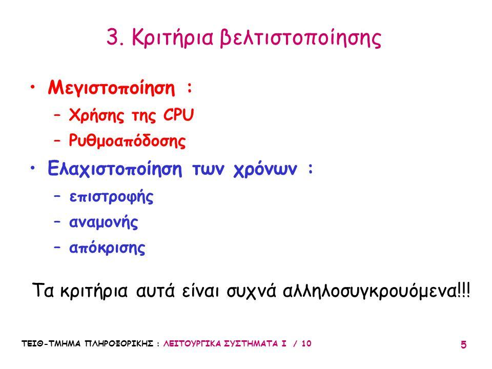 3. Κριτήρια βελτιστοποίησης