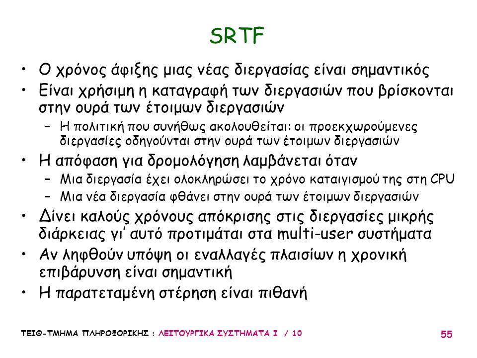 SRTF Ο χρόνος άφιξης μιας νέας διεργασίας είναι σημαντικός