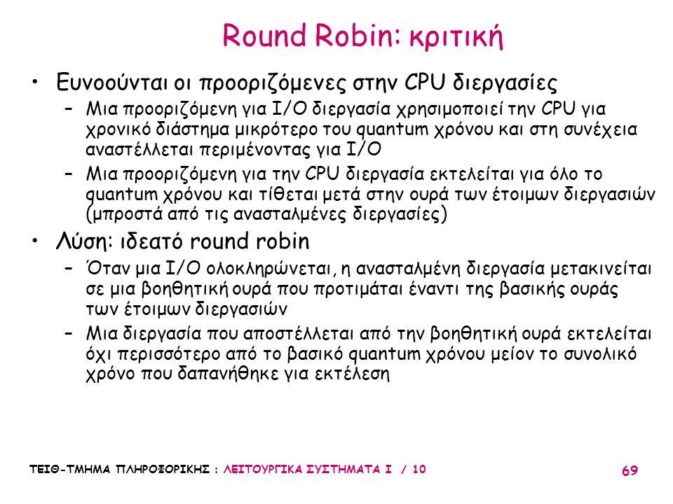 Round Robin: κριτική Ευνοούνται οι προοριζόμενες στην CPU διεργασίες