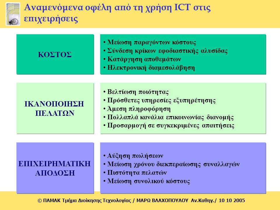 Αναμενόμενα οφέλη από τη χρήση ICT στις επιχειρήσεις
