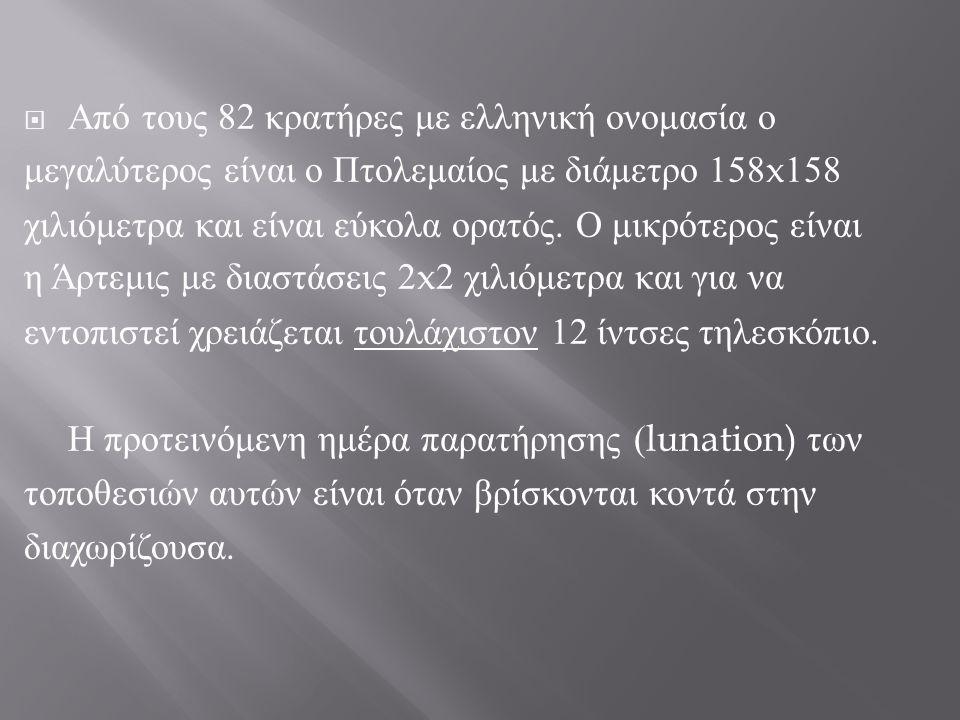 Από τους 82 κρατήρες με ελληνική ονομασία ο