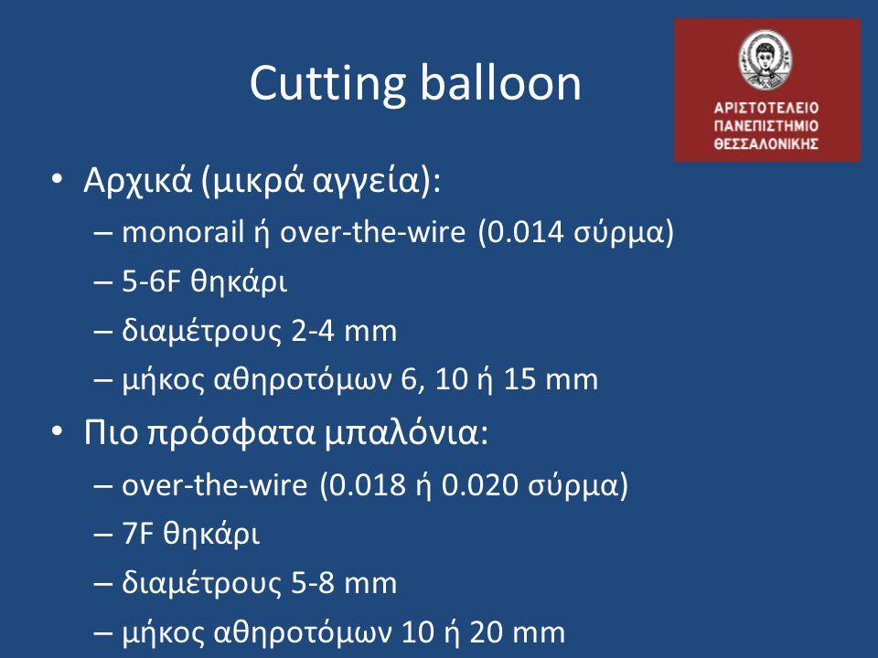 Cutting balloon Αρχικά (μικρά αγγεία): Πιο πρόσφατα μπαλόνια: