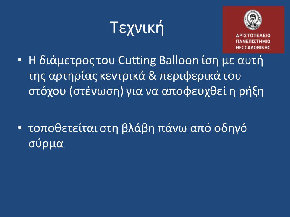 Τεχνική Η διάμετρος του Cutting Balloon ίση με αυτή της αρτηρίας κεντρικά & περιφερικά του στόχου (στένωση) για να αποφευχθεί η ρήξη.