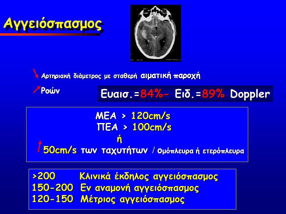 Αγγειόσπασμος Ευαισ.=84%- Ειδ.=89% Doppler MΕA > 120cm/s
