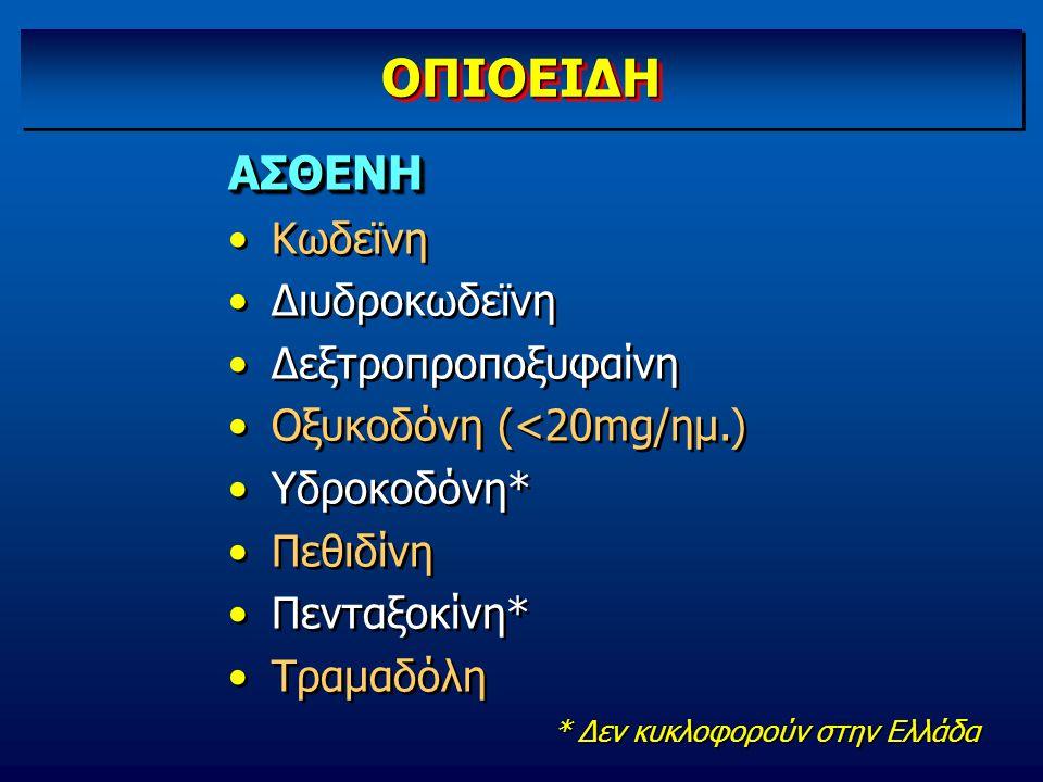 ΟΠΙΟΕΙΔΗ ΑΣΘΕΝΗ Κωδεϊνη Διυδροκωδεϊνη Δεξτροπροποξυφαίνη