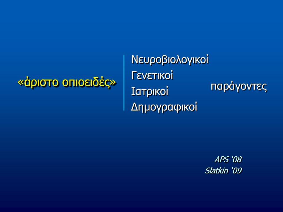 «άριστο οπιοειδές» Νευροβιολογικοί Γενετικοί Ιατρικοί Δημογραφικοί