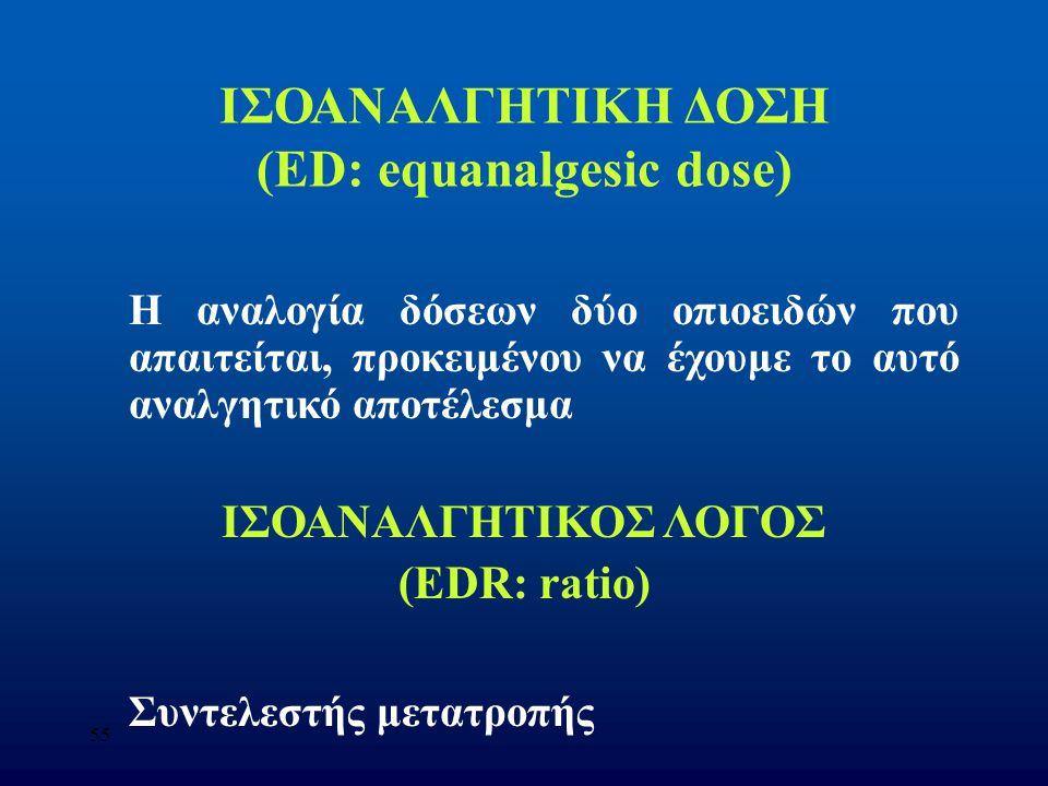 ΙΣΟΑΝΑΛΓΗΤΙΚΗ ΔΟΣΗ (ED: equanalgesic dose)