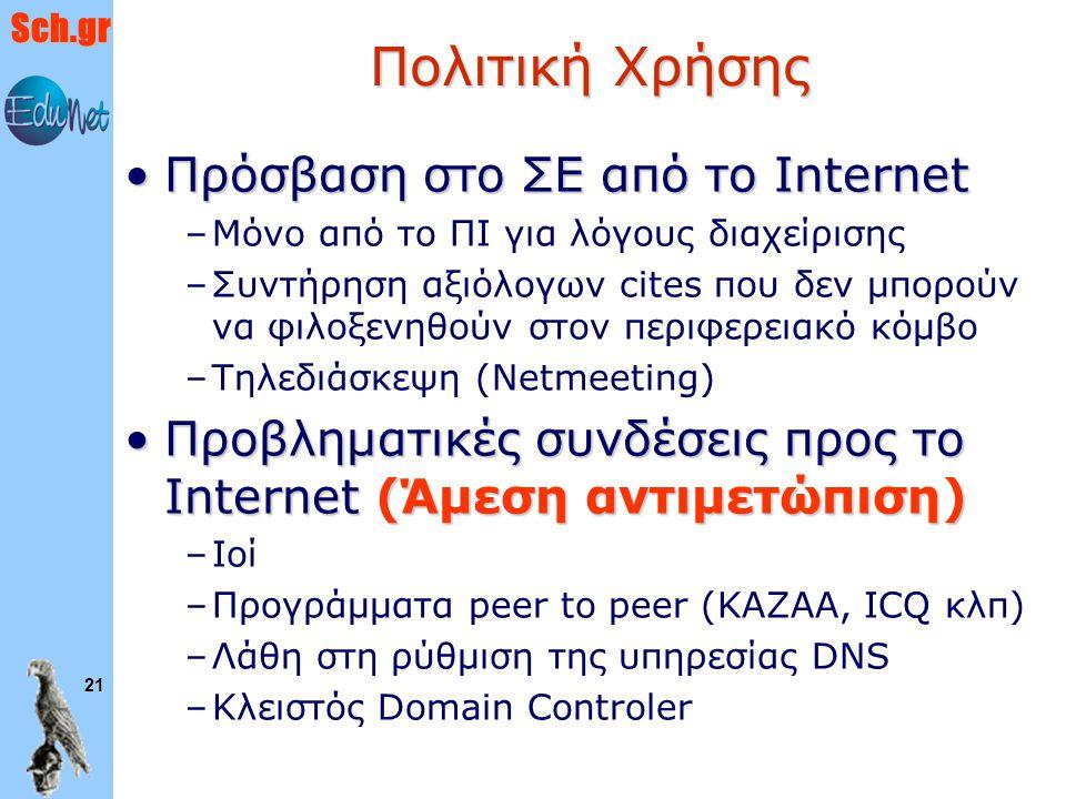 Πολιτική Χρήσης Πρόσβαση στο ΣΕ από το Internet