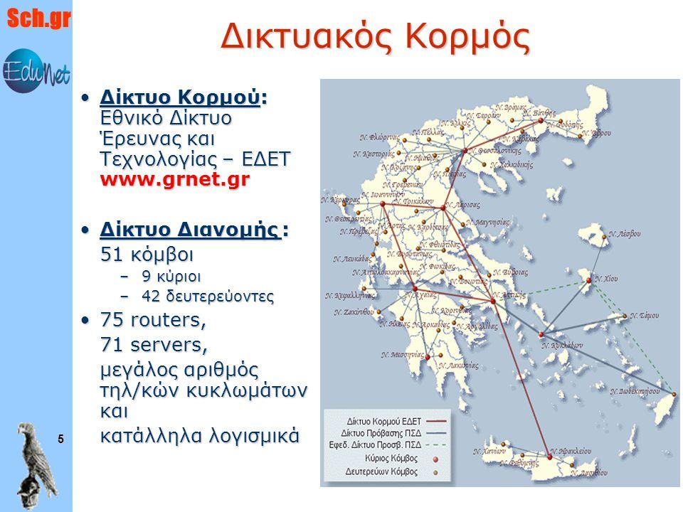 Δικτυακός Κορμός Δίκτυο Κορμού: Εθνικό Δίκτυο Έρευνας και Τεχνολογίας – ΕΔΕΤ www.grnet.gr. Δίκτυο Διανομής :