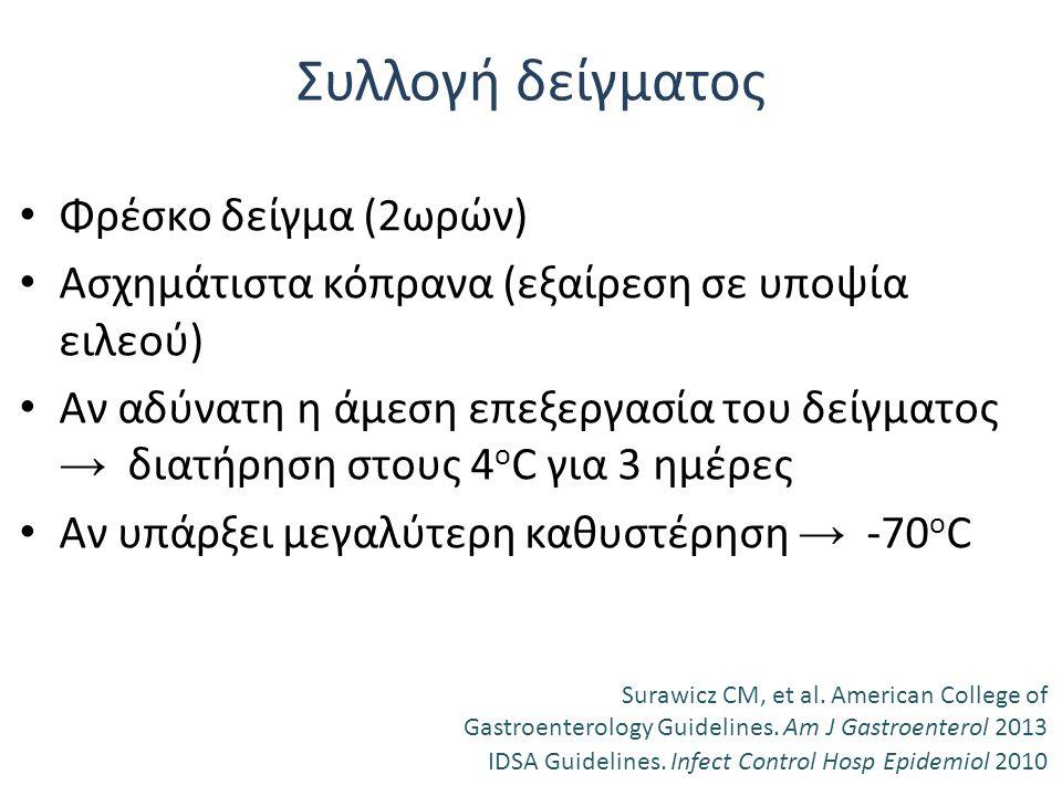 Συλλογή δείγματος Φρέσκο δείγμα (2ωρών)