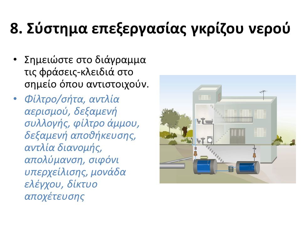 8. Σύστημα επεξεργασίας γκρίζου νερού