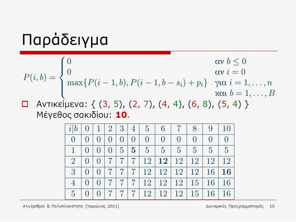 Παράδειγμα Αντικείμενα: { (3, 5), (2, 7), (4, 4), (6, 8), (5, 4) } Μέγεθος σακιδίου: 10. Αλγόριθμοι & Πολυπλοκότητα (Χειμώνας 2011)