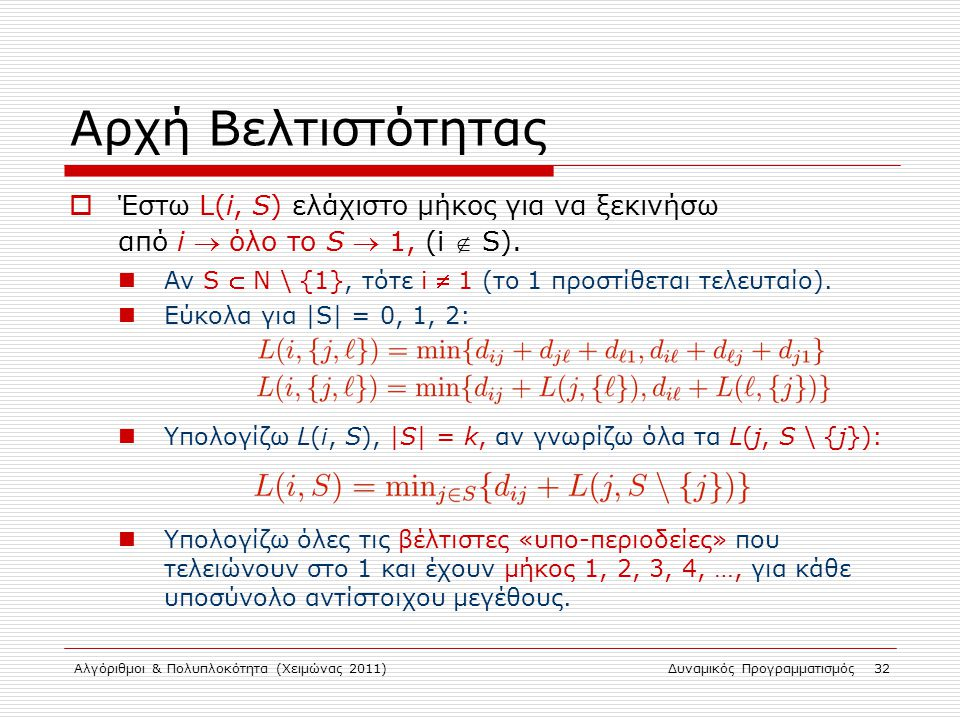 Αρχή Βελτιστότητας Έστω L(i, S) ελάχιστο μήκος για να ξεκινήσω από i  όλο το S  1, (i  S).