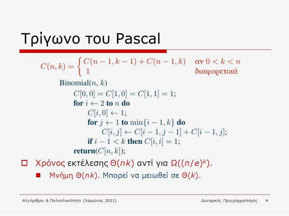 Τρίγωνο του Pascal Χρόνος εκτέλεσης Θ(n k) αντί για Ω((n / e)k).